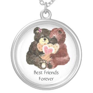 Nounours mignon, meilleurs amis pour toujours, BFF Pendentif Rond