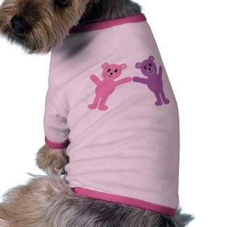 Nounours rose et pourpre mignon de bande dessinée  tee-shirts pour chien