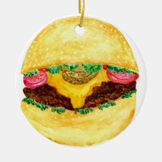 Nourriture 2 d'hamburger ornement rond en céramique