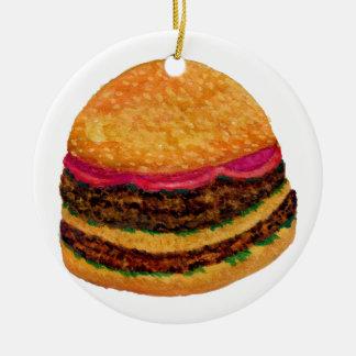 Nourriture 3 d'hamburger ornement rond en céramique