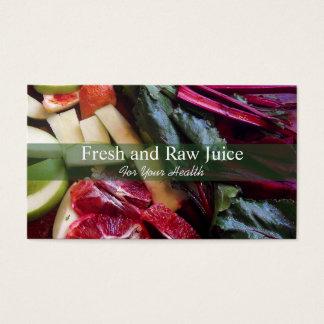 Nourriture de nutritionniste de Juicing et vert de Cartes De Visite