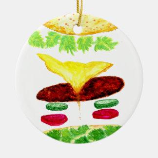 Nourriture d'hamburger ornement rond en céramique