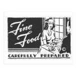 Nourriture fine soigneusement préparée carte postale