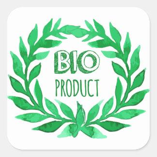 Nourriture fraîche de bio de produit de vert ferme sticker carré