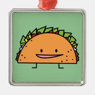 Nourriture heureuse de Mexicain de Salsa de viande Ornement Carré Argenté