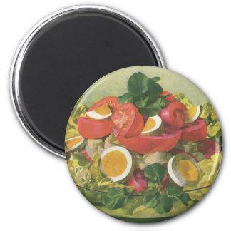 Nourriture vintage, salade verte mélangée aimant