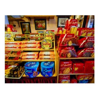 Nourritures et bonbons italiens à la carte postale