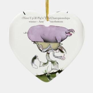 nous aimons la course de porc d'up'ill de ornement cœur en céramique