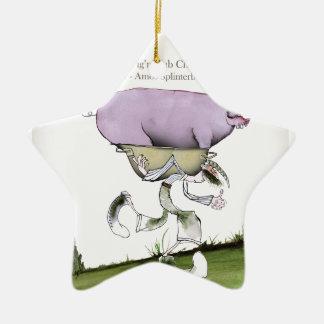 nous aimons la course de porc d'up'ill de ornement étoile en céramique