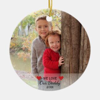 Nous aimons nos coeurs du papa | et Noël de 2 Ornement Rond En Céramique