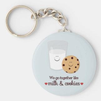 Nous allons ensemble comme le lait et des biscuits porte-clé rond