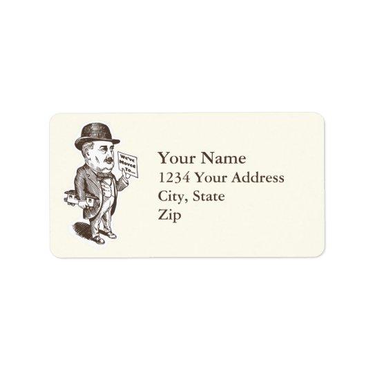 Nous avons déplacé l'homme avec le train étiquette d'adresse