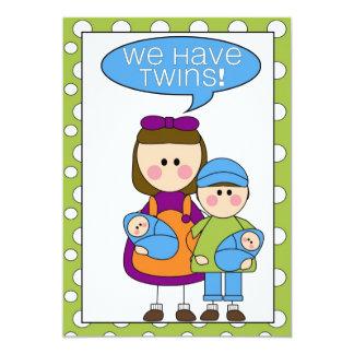 nous avons des jumeaux ! faire-part (d'enfants de carton d'invitation  12,7 cm x 17,78 cm