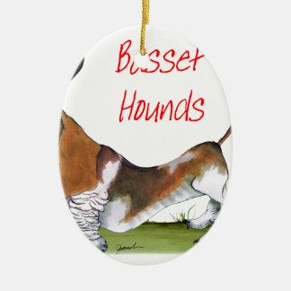 nous chiens de basset de luv des fernandes ornement ovale en céramique