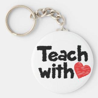 Nous enseignons avec le coeur ! porte - clé porte-clé rond