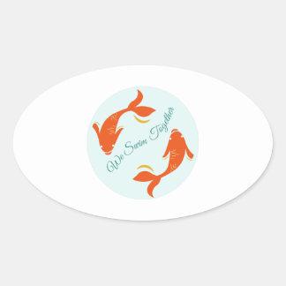 Nous nageons ensemble stickers ovales