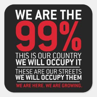 Nous sommes les 99% - 99 pour cent occupent Wall Autocollant Carré