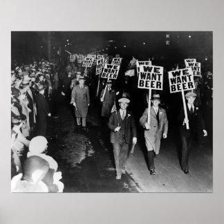 Nous voulons la bière ! Interdiction Protest, cru Posters