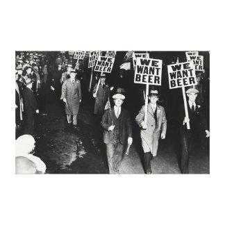 Nous voulons la copie de toile de protestation