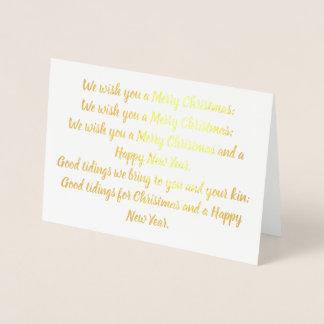 Nous vous souhaitons une carte de Noël d'aluminium