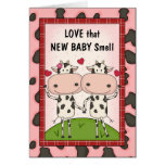 Nouveau bébé - vaches pour de nouveaux parents cartes de vœux