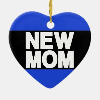 Nouveau bleu d'atterrisseur de maman ornement cœur en céramique