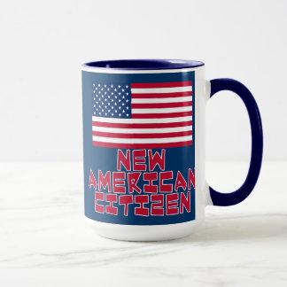 Nouveau citoyen américain avec le drapeau mug