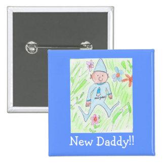 nouveau gnome, nouveau papa ! ! badge carré 5 cm