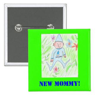 nouveau gnome, nouvelle maman ! badge carré 5 cm