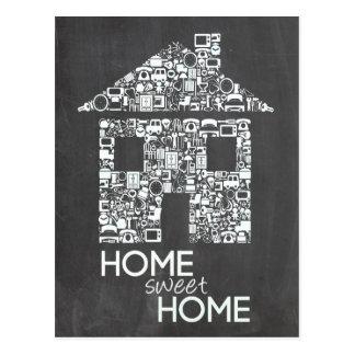 Nouveau panneau de craie à la maison doux à la carte postale