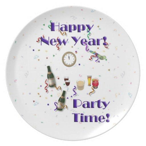Nouveau temps heureux d'Année-Partie ! Assiette