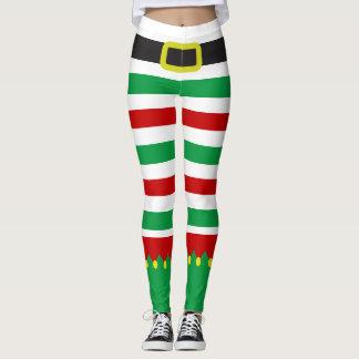Nouveauté rouge verte rayée de Noël d'Elf Leggings