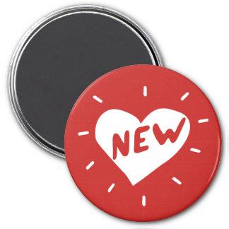 Nouveaux coeur/grand, aimant rond de 7,6 cm