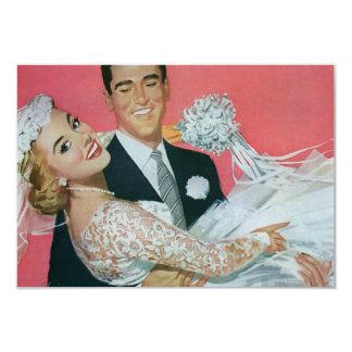 Nouveaux mariés heureux de mariage vintage, carton d'invitation 8,89 cm x 12,70 cm