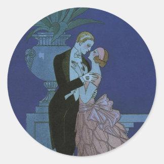 Nouveaux mariés vintages d'art déco, Oui par Sticker Rond