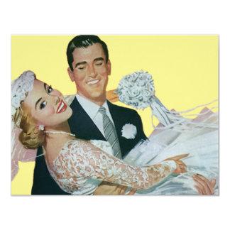 Nouveaux mariés vintages de mariage, jeunes mariés carton d'invitation 10,79 cm x 13,97 cm