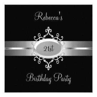 NOUVEL 21ème argent de noir de fête d anniversaire Invitations Personnalisées