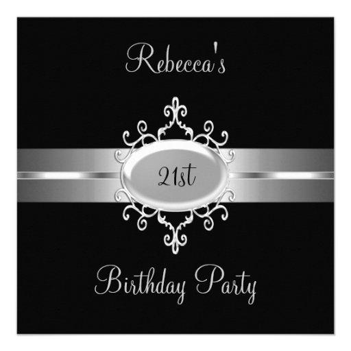 NOUVEL 21ème argent de noir de fête d'anniversaire Invitations Personnalisées