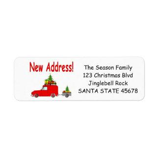 Nouvel étiquette de voiture d'adresse et de Noël