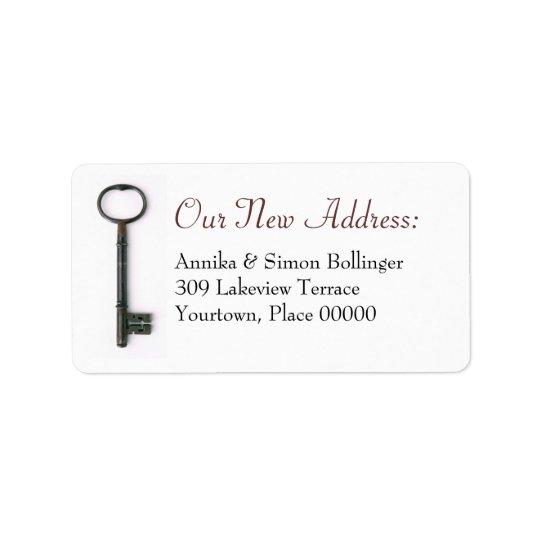Nouvelle adresse de fausse clé étiquette d'adresse