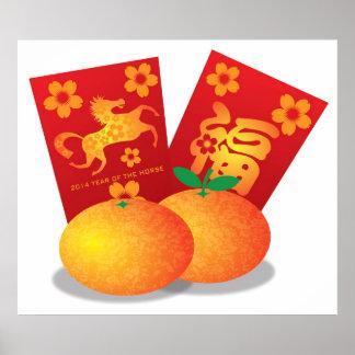 Nouvelle année chinoise des mandarines de cheval affiches