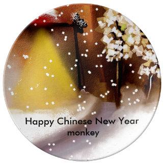 Nouvelle année chinoise heureuse assiettes en porcelaine
