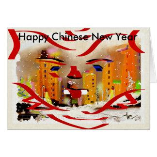 Nouvelle année chinoise heureuse carte de vœux