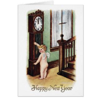 Nouvelle année et horloge de grand-père de bébé cartes