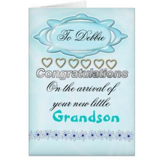 Nouvelle carte bleue de félicitations de bébé,