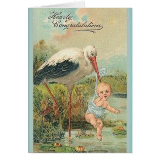 Nouvelle carte de voeux vintage de bébé et de