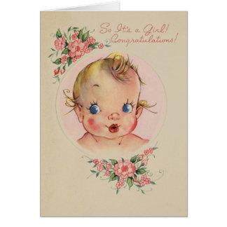 Nouvelle carte vintage de félicitations de bébé