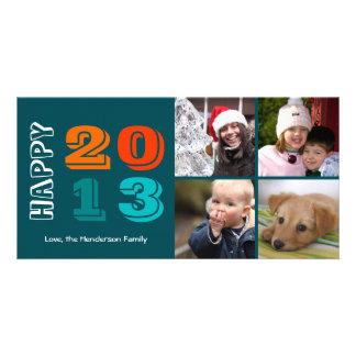 Nouvelle d'année en année marine heureuse de grill carte avec photo