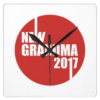 Nouvelle grand-maman 2017 horloge carrée
