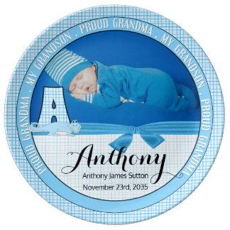 Nouvelle photo bleue de bébé de contrôle de la assiette en porcelaine